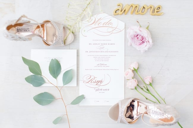 compliation photo of the details of the wedding including the invitation, florals, and the brides shoes