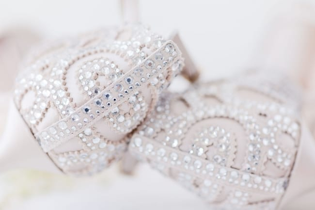 detailed close up of the crystals on the brides heels