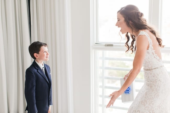 the bride sees her soon to be step son in the bridal suite