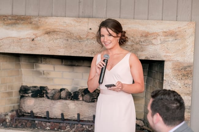 the maid of honor in a blush pink v neck gown making her speech in front of the cream and stone fireplace