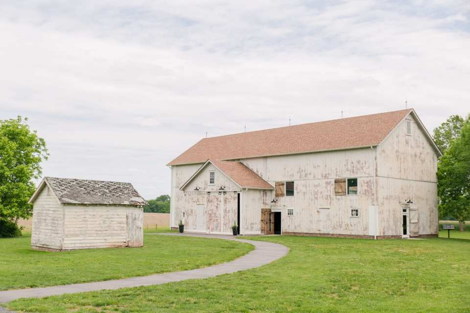 wide angle photo of the main barn where the wedding reception held on the Updike Farmstead property