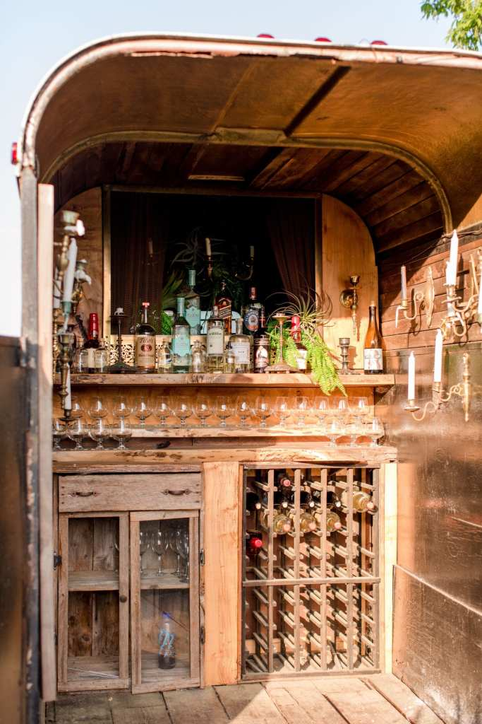 interior photo of the horse trailer customized into a bar by the 13th Street Cocktail Caterers