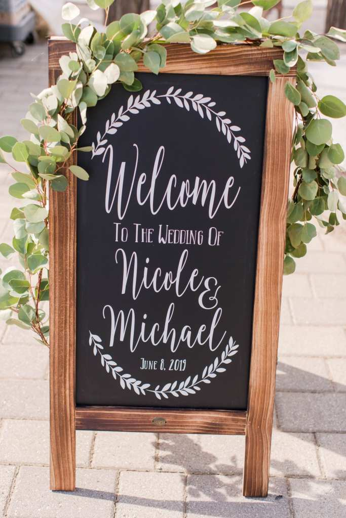 Personalized chalkboard welcome to the wedding signage