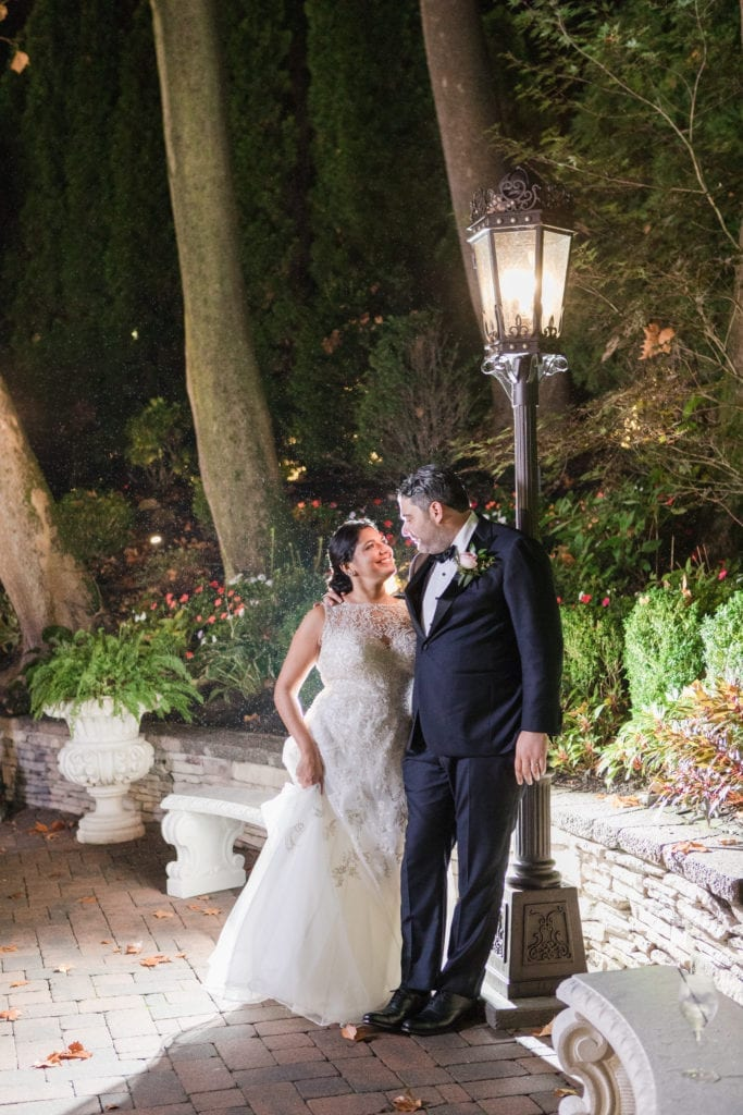 Night shot of the bride and groom outside of Nanina's in the Park