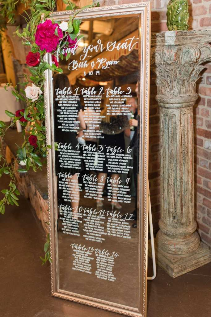Mirrored guest seating chart with floral accents
