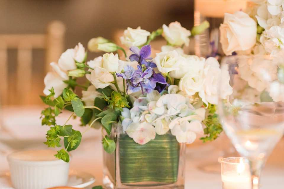 Close up of a small, low floral design by Crest Florals