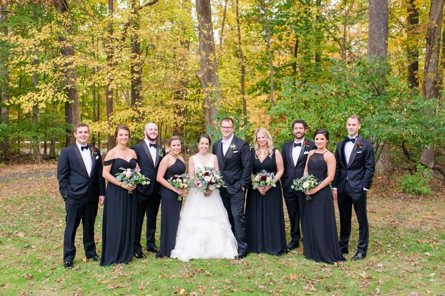 The entire wedding party portrait outdoors at the Princeton Marriott at Forrestal