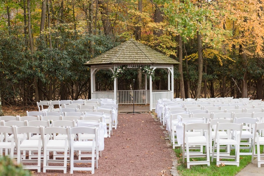 Wide angle of the outdoor ceremony space at Princeton Marriott at Forrestal wedding
