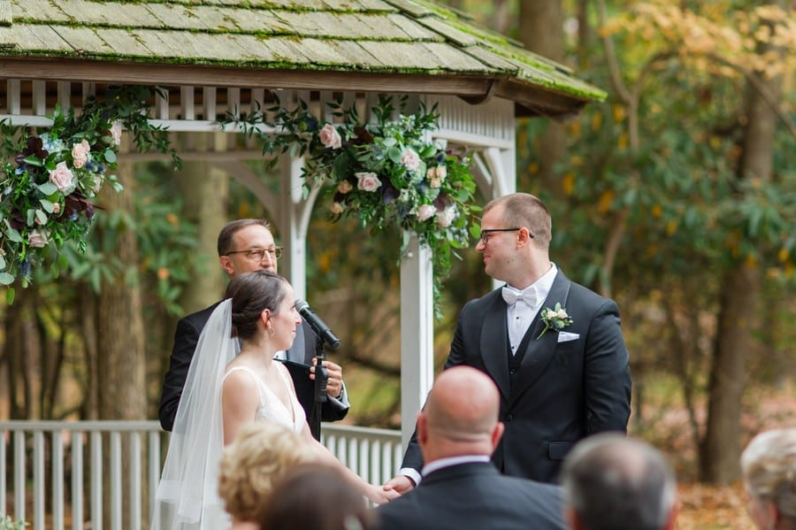 The bride and groom during their Princeton Marriott at Forrestal wedding ceremony