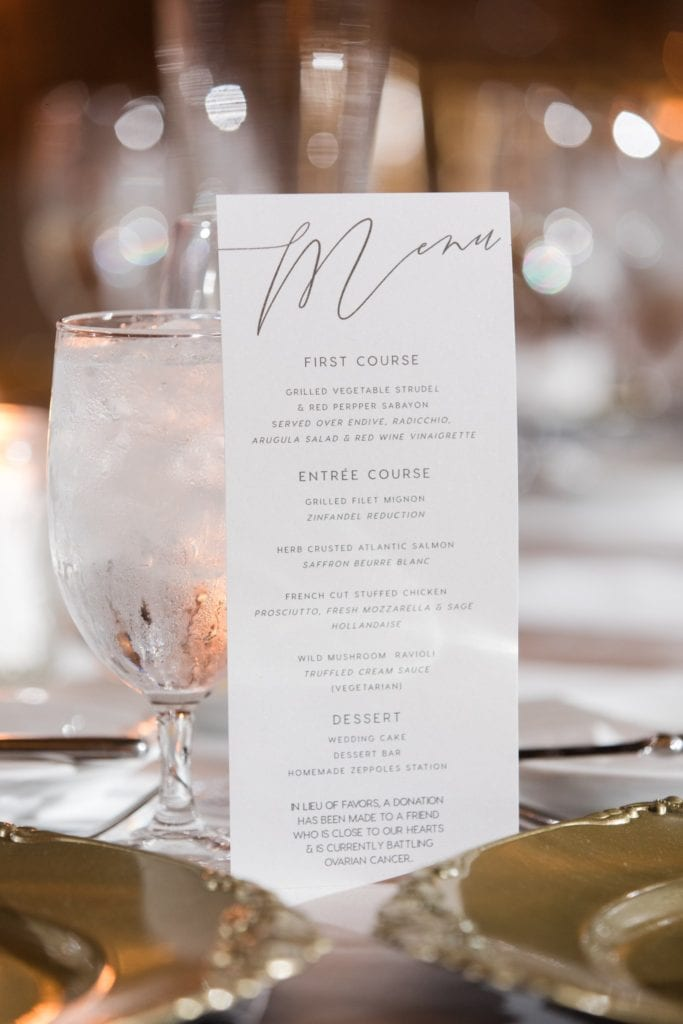 Custom menu card displayed in full against a goblet