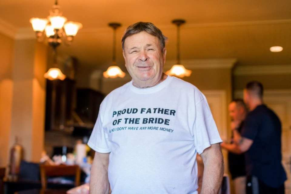 Photo of the brides father with a custom tshirt