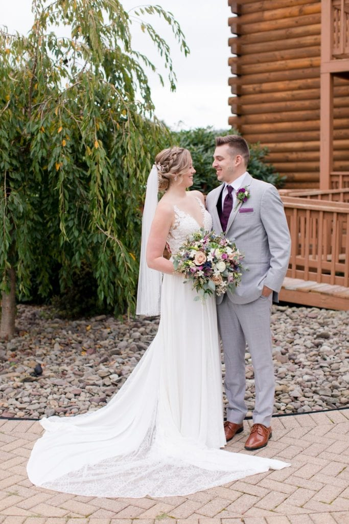 Formal portrait of the bride and groom outside in their Blue Mountain Resort wedding photos