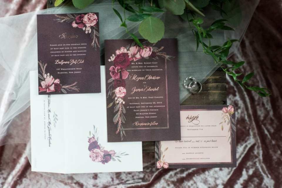 Invitation suite of blush and brown stationary by Minted