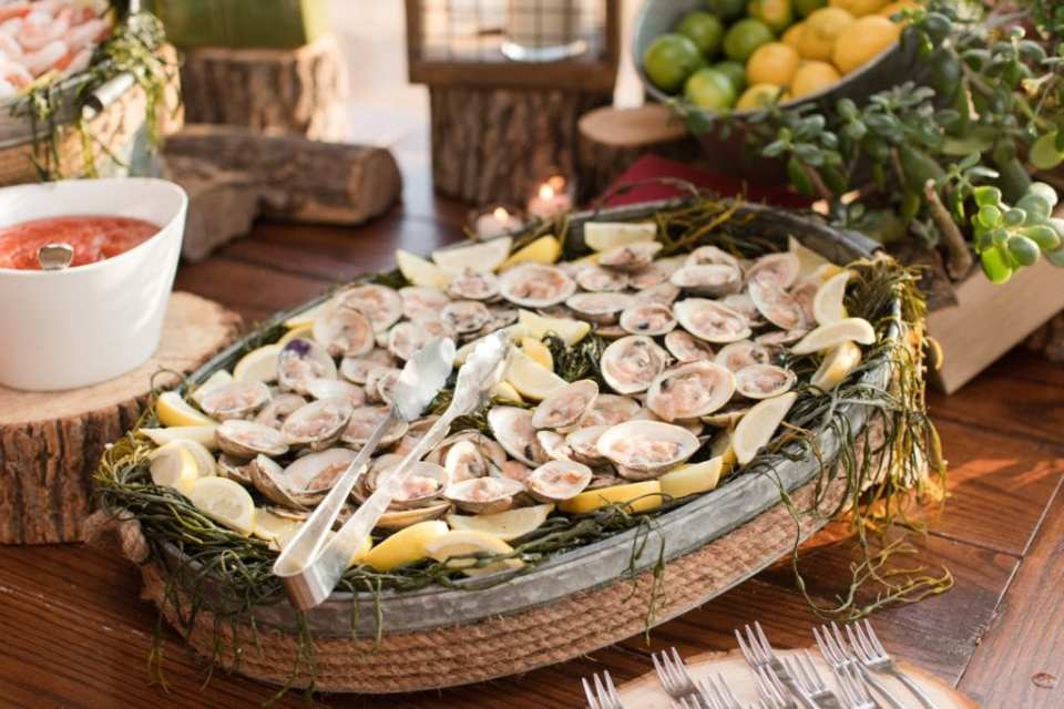 Raw seafood display during cocktail hour