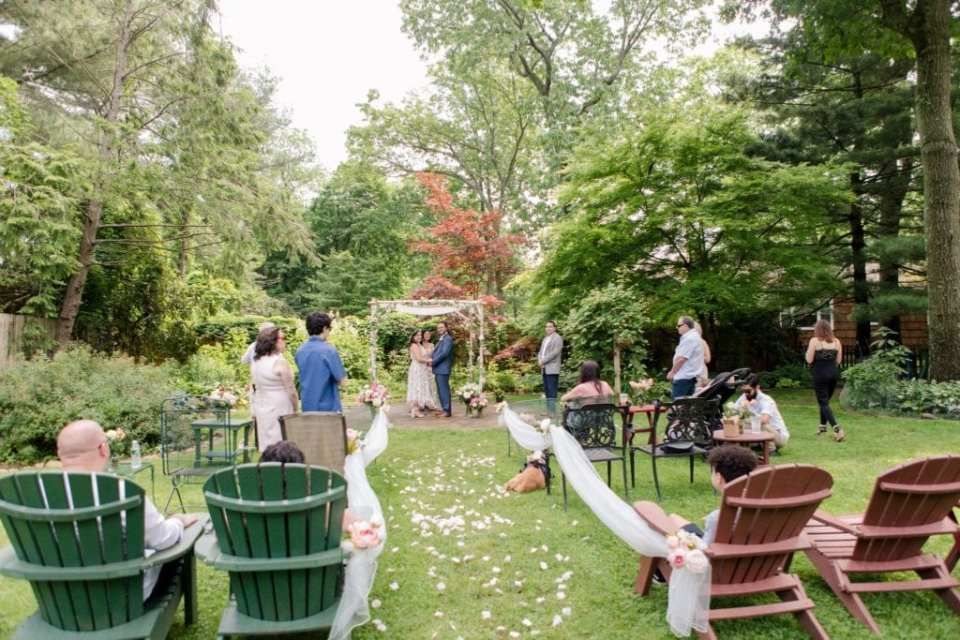 Wide angle shot of backyard New Jersey Micro wedding ceremony