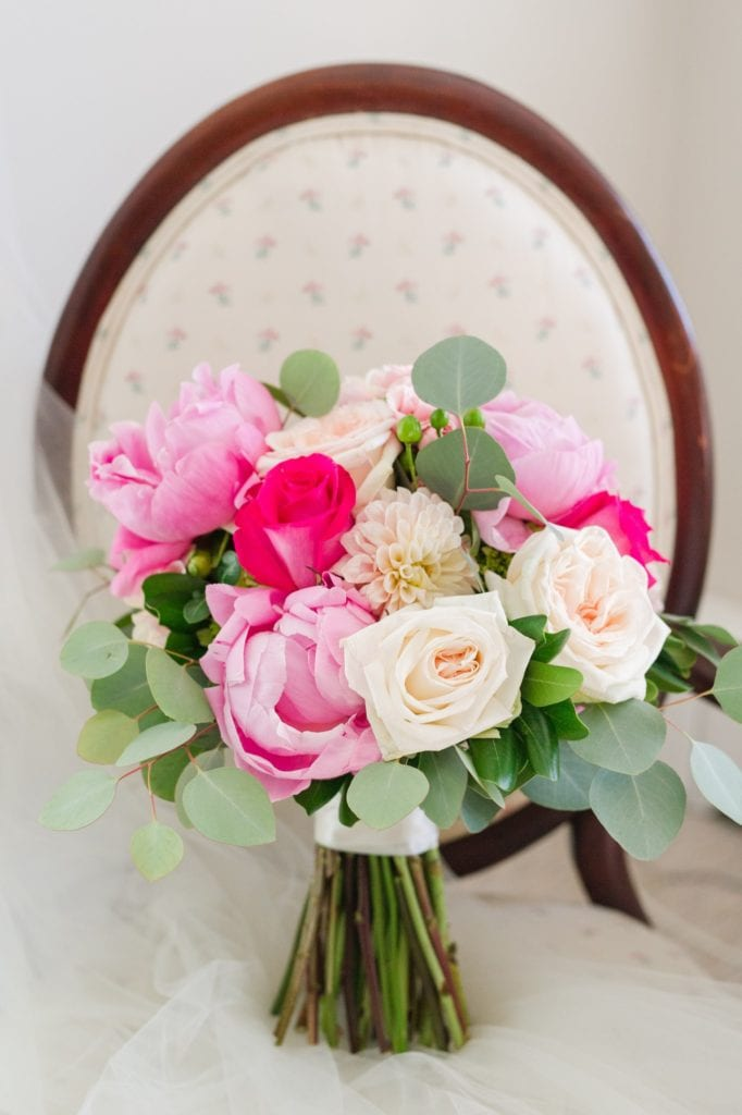 The bridal bouquet of pink florals by Wallflowers