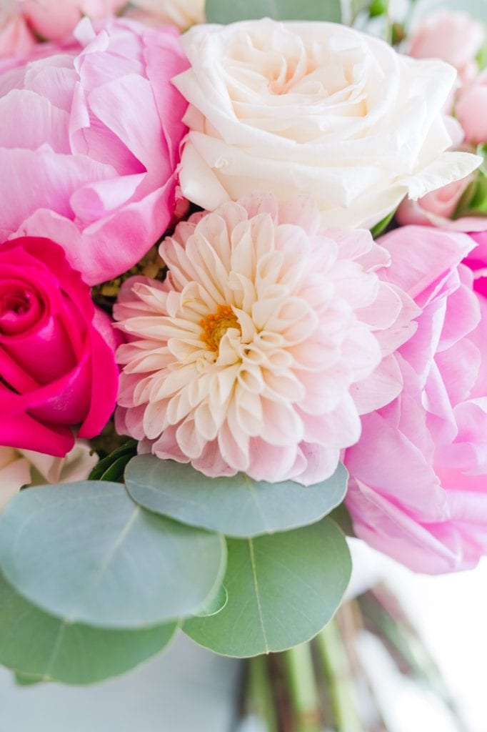 Close up of the bridal bouquet of pink florals by Wallflowers