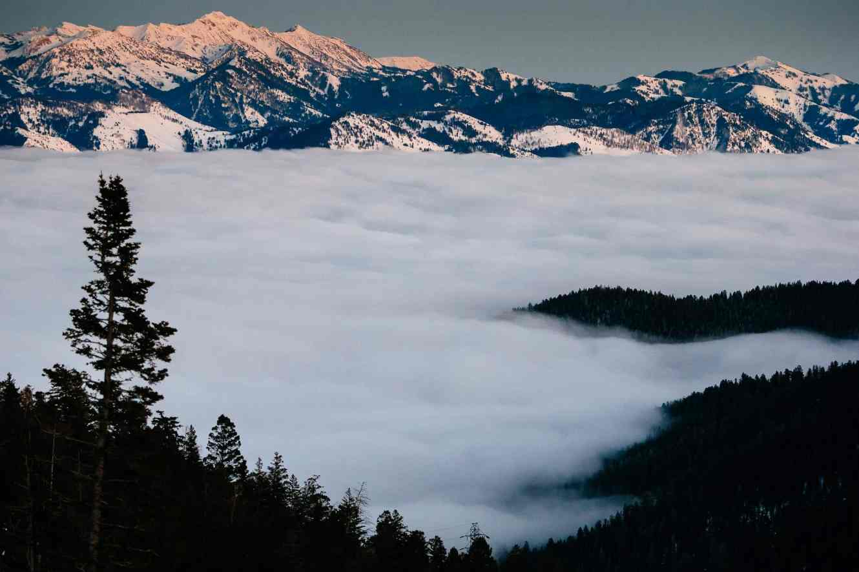 Teton Photo Adventures - Inversion Fog Sunset Teton Pass Wyoming