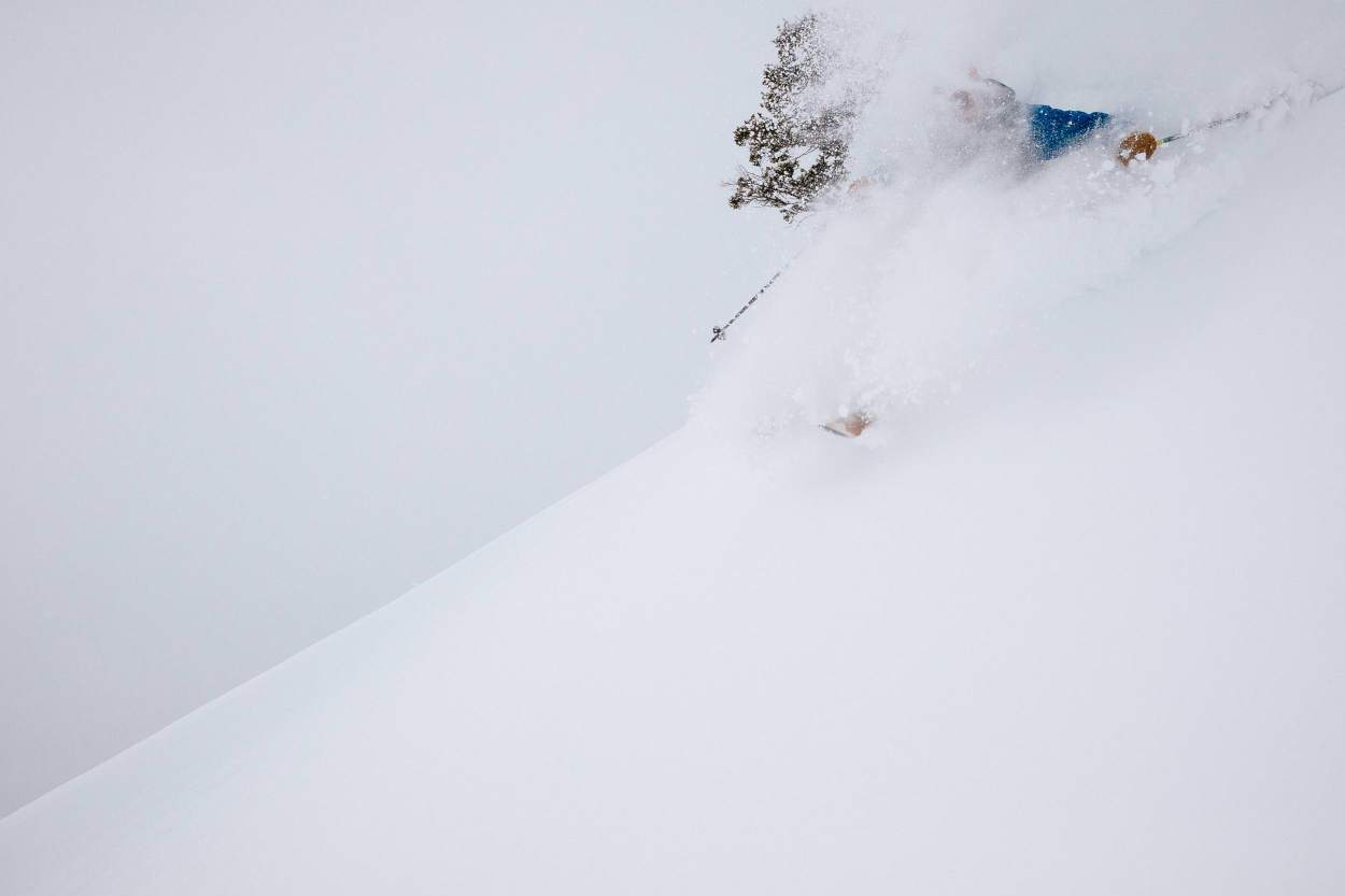 Tanner Flanagan skis a massive winter storm full of powder outside the boundaries of JHMR in Storm Dispatch Two