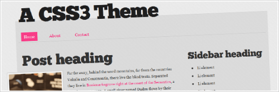 A CSS3 and HTML5 theme