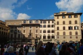 Apartments and shops surround the sculptures at the impressive Piazza della Signoria