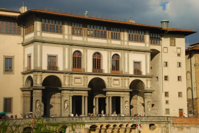 The Uffizi from the other side of the Arno River. Wonderful works of art, treasured pieces and sculptures fill this building. The Uffizi is treasure itself, as a beautiful architectural work of art.
