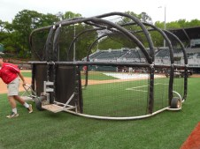 A batting cage is being set up for batting practice. The practice starts at 3:00 and lasts for two hours. (April 15th) Photo Credit: Jaylon Thompson, Multiplatform news