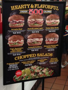 Firehouse Subs Hearty & Flavorful menu display