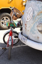 A bike next to a VW bus at the Park Stomp Festival in Medicine Park, Oklahoma.