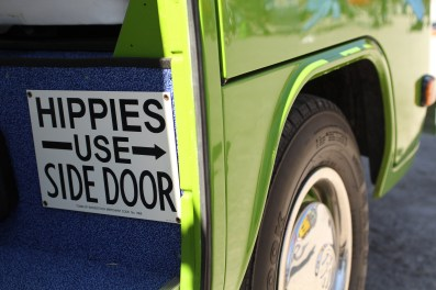 A sassy sign on the inside of a restored VW bus at the Park Stomp Festival in Medicine Park, Ok.