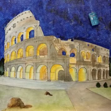Colosseum (there's 14 layers of paint on this one and I used only blue and yellow paint)