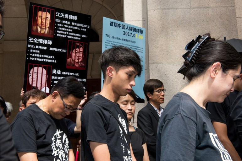 """HONG KONG, CHINA - JULY 09:Student activist, Figo Chan joins the protest (M).Protesters gather for the inaugural """"China Human Rights Lawyers' Day"""" to be commemorated round the world. The day marks the anniversary 2 years ago of the mass arrests of human rights lawyers and their assistants across China. The group gathers outside the Final Court of Appeal in Central, Hong Kong, Hong Kong SAR, China on July 9th, 2017."""