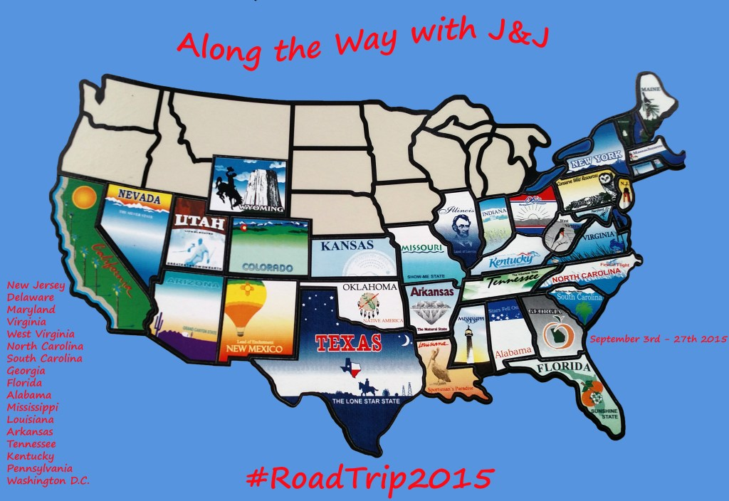Map of completed Road Trip 2015
