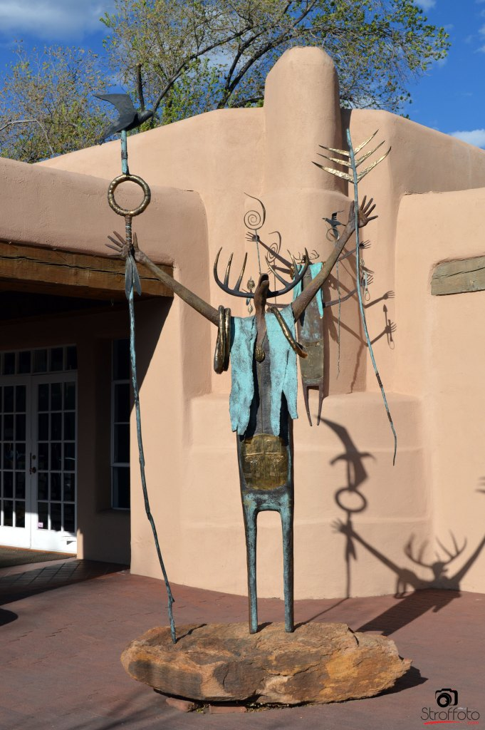 Bronze Sculpture Outside Art Gallery in Santa Fe