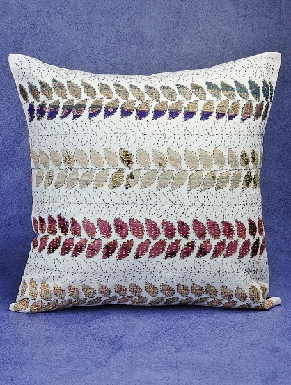 Hand Embroidered Kantha Cushion Cover