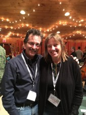 Posing with a great guitar maker, Linda Manzer