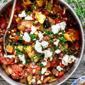 Creole Eggplant and Roasted Vegetables, Brown Rice and Beans, Feta Cheese (for 1)