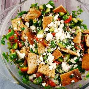 Fattoush Salad with Grilled Steak, Feta, White Bean Hummus, Vinaigrette (for 2)
