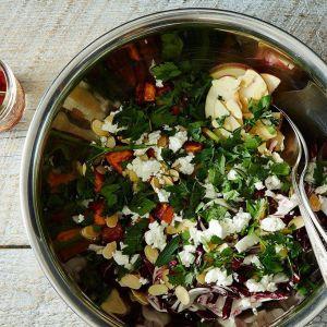 Steel Bowl Salad w/ Dried Cherries, Goat Cheese, Almonds, Peach-Agave Vinaigrette (for 5+)