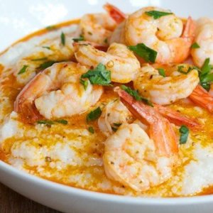 Lime-Grilled Shrimp, Sweet Potato Succotash, Fontina Cheese Grits (for 1)