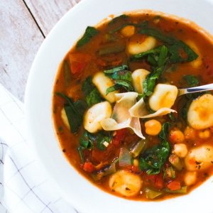 Country Tomato and Vegetable Soup with Gnocchi (for 2)