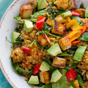 Power Green Salad w/ Roasted Tofu, Lime-Peanut Dressing, Quinoa, Edamame (for 2)