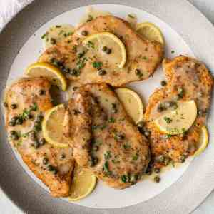 Barefoot Contessa's Chicken Piccata with Pappardelle Pasta, Parsley Butter (for 1)