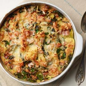 Brunch Strata with Croissants, Spinach, Mushrooms, Fontina, Broccoli