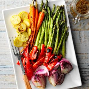 Roasted and Grilled Market Vegetables with Thai Peanut Sauce (for 2+)