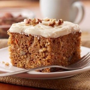 Carrot Cake with Walnuts, Coconut, and Cream Cheese Frosting (for 1+)