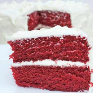 Red Velvet Cake with Cream Cheese Frosting, Raspberry Filling (for 1+)