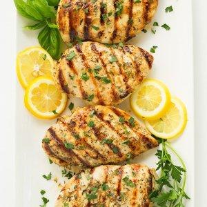 Grilled Lemony-Herb Chicken over Greens, Walnut Crisp, Nectarine-Agave Vinaigrette (for 1)