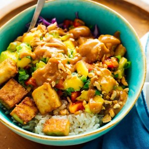 Roasted Tofu Bowl with Groundnut Sauce, Coconut-Turmeric Rice, Braised Greens (for 1)