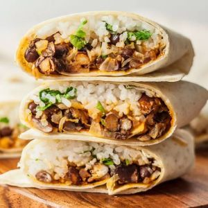 Vegetarian Mission Burrito with Grilled Veggies, Corn, Black Beans, Kale, Rustic Salsa (for 1)